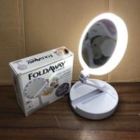 espelho de mão conduzido venda por atacado-USB Portátil LED Espelho Maquiagem Iluminada vaidade compacto espelhos de bolso das mulheres Vaidade Cosméticos Espelho de mão