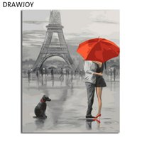 Wholesale Framed Canvas Acrylic Paintings - DRAWJOY Framed Landscape Painting & Calligraphy DIY Painting By Numbers Acrylic Canvas Paintings Home Decor GX5661 40*50cm