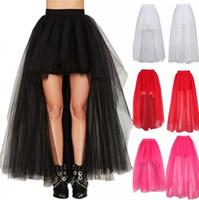 uzun katmanlı tutu toptan satış-Yeni Moda Yüksek Düşük Ucuz 3 Katmanlar Tül Etekler Siyah Kısa Ön Uzun Arka Etek Kadın Seksi Yaz Sonbahar Tutu Etek CPA805