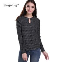 Wholesale puff sleeved blouse - Singwing Women Polka Dot Chiffon Blouses long-sleeved Blouse O-Neck Shirts female Polka Dot Blusas Femininas Collar Shirt Tops