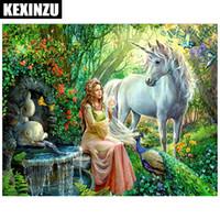 ingrosso bella pittura di cavalli-Nuovo arrivo Nuovo ago e filo pittura diamante bella principessa e cavallo bianco paesaggio diamante ricamo tutto tondo trapano