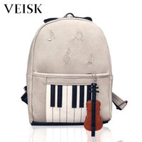 bolso de escuela de musica al por mayor-Veisk Music Mochilas Piano Musical Violín Mochila Para Adolescentes Impresión Bookbag Estudiantes School Music Center Note Bag
