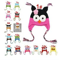 Wholesale monkey hats crochets resale online - New Cotton Children hats Handmade Crochet Monkey and Piggy and Parrot Hats Various Animal Styles Cartoon hats Baby Owl Beanie Hat
