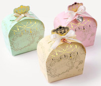 Wholesale foil wrapped chocolates resale online - Crown Shiny Gold Foil Candy Box Bridal Favor Birthday Party Favors Chocolate Gift Box Wedding Decorations