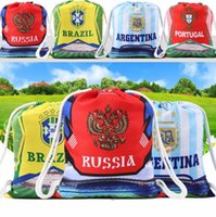 Wholesale folding clothes for travel - 2018 World Cup Drawstring Large Bag For Football Storage Bag Travel Pouch Personality Digital Backpack EEA328