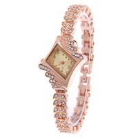 Wholesale rectangular stainless steel - Fashion rectangular women ladies diamond bracelet watch 2018 wholesale lady casual dress quartz alloy metal wrist watches