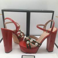 ingrosso tacchi alti denim-Le migliori scarpe da donna di lusso spesse con sandali impermeabili con plateau tinta unita abbinano tacchi alti 35-41 tacco alto