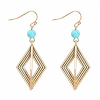 Wholesale tibetan gold earrings resale online - Handmade Tibet Tibetan Earrings Artistic Vintage Delicate Hand made Turquoise Gold Plated Geometric Pendant Dangle Unique Women Jewelry