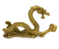 """Wholesale Chinese Sculptures - ERMAKOVA 12cm(4.7"""")Chinese Ancient Mascot Copper Dragon Sculpture Art Craft Home Dragon Statue Office Oranment Decor Collection"""