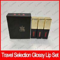 Wholesale glossy lipstick brands resale online - Popular Famous brand Lipgloss liquid Lipstick balm travel selection lip gloss glossy stain lip set set