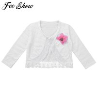 Wholesale Little Girls Cute Cardigan Sweaters Cotton Polyester Thin Long Sleeve Kids Girl Flower Pattern Knitting Cardigan Top