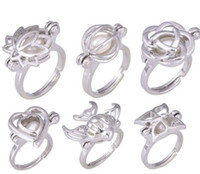 Wholesale cage rings - Pearl Cage Rings Elegant Flower Finger Ring Pearl Ring for Women Party DIY Ring Jewery 6 Styles