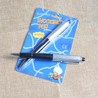 Wholesale wholesale fancy pens - April Fools Day fancy ballpoint pens Pen Shocking Electric Shock Toy Gift Joke Prank Trick Fun prank trick joke toys Free Shipping