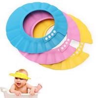 Wholesale Hair Visors Wholesale - Hot Sale Baby Bath Cap Visor Hat Adjustable Baby Shower hat Protect Eye Waterproof Shampoo Hair Wash Shield baby capsd