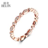 ingrosso anello in oro rosa impostato a lunetta-HELON Fine Diamonds Band Solid 14 carati oro rosa con castone incastonati Diamond Ring Natural Diamond Art Deco anniversario d'epoca BAND D1892903