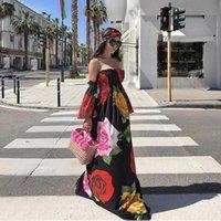 bir uzun kollu mini elbise toptan satış-Missord 2018 Kadınlar Seksi Tek Boyun Çiçek Baskı Elbise Kapalı Omuz Backless Uzun Kollu Zarif Elbise FT18421 Y1890805