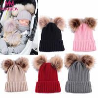 neugeborener wollmütze für mädchen großhandel-MUQGEW Newborn Cute Fashion Halten Warme Winter Hüte Kindermütze für Mädchen Jungen Gestrickte Wolle Säumen Hut