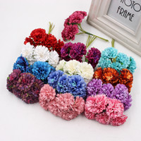Wholesale Florist Wholesalers - 6pcs Silk Dendranthema Artificial Flower For Wedding Party Home Chrysanthemum Decoration Handmade Florists Craft Flower 3.5cm