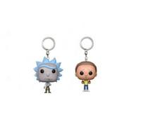 correntes chaves para a cara do menino venda por atacado-Rick e Morty keychain anel chave chaveiros figura de ação Bobble Head Q Edição Para A Decoração Do Carro