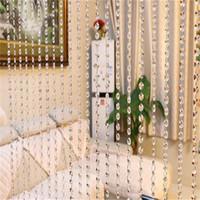 gelbe graue vorhänge großhandel-HOMEGD Vorhang Kristallglas und Edelstahl Draht Tür String Quaste Vorhang Luxus Glasperlen Raumdekor 18Mai7 Drop Ship