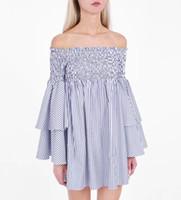ingrosso vestito di pelle giallo faux-Street Style Dresses 2018 Le più nuove donne primavera e l'estate abbigliamento Stripes A Line Dress Slash Neck Off spalla Flare Sleeve Shirt Dress