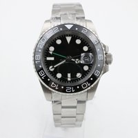 Wholesale ceramic ring stainless steel - Luxury Watches 40MM Multi Time Zone Black Dial Sapphire Mirror Ceramic Rings Automatic Mechanical Movement 316L Stainless Steel Strap