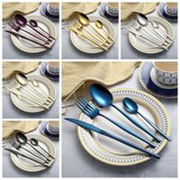 ingrosso set da tavola d'argento-Set di posate in acciaio inossidabile Coltello Posate Cucina Stoviglie Placcatura in oro Argento Set di stoviglie blu 6 Colori Piatti per bambini OOA5350