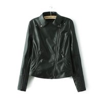 Wholesale leather jacket women online - Black Faux Leather Jacket Women Spring Stud rivet Moto Biker Zip Coats Chaqueta Blazer PU Jack Jaqueta Couro Rock Cuir Femme