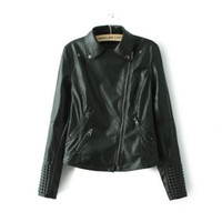 black leather blazer jacket toptan satış-Siyah Faux Deri Ceket Kadın Bahar Damızlık / perçin Moto Biker Zip Coats Chaqueta Blazer PU Jack Jaqueta Couro Kaya Cuir Femme