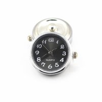 Wholesale snap button watches for sale - Group buy Hot Sale Metal black Color Glass Watch Snap Buttons Charms Fit mm mm DIY Snap Bracelet Bangle Necklace DIY Jewelry
