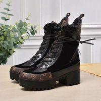 ingrosso scarpe da 5cm-Luxury Designer di marca Ladies Stivali in pelle con plateau Desert Boots 5cm Chunky Heel Ankle Boot Women Scarpe da trekking
