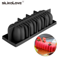 Wholesale mousse molds - 3D Rectangle Bending S Shaped Black Silicone Cake Molds Mousse Pan Baking Decorating Tools