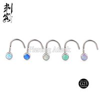 Wholesale g23 titanium body jewelry resale online - Opal Body Jewelry G23 Titanium Nose Ring of Father s Day Special