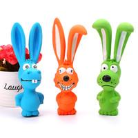 brinquedo de coelho azul venda por atacado-Chegada nova Squeak Toys Dog Rabbit Latex Mastigar Brinquedo Do Cão Animal Pet Squeak Toy Suprimentos Do Cão Bonito Coelho Azul Laranja Verde