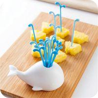 Wholesale Vegetable Fashion - New Fashion 16Pcs Set Fruit Forks Novelty Fruit Vegetable Tools Creative White Whale Design Jar Spray Fruit Pick Kitchen Tools