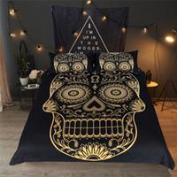 siyah şeker toptan satış-Şeker Kafatası Yatak Seti Altın Gotik Nevresim Yastık Kılıfı Ikiz Tam Kraliçe Kral Siyah Ev Tekstili Çiçek Yatak Örtüsü 3 adet