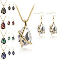 ingrosso vendita orecchini del polsino dell'oro-2018 vendita calda diamante collana goccia di cristallo orecchini set di gioielli oro gabbia del polsino dell'orecchio del pendente catene di gioielli da sposa regalo per le donne
