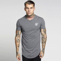 siyah uzun tişörtler toptan satış-Siksilk Hip Hop T-Shirt Erkekler Streetwear Tops Kısa Kollu Siyah Beyaz Uzun T-shirt Longline Tees