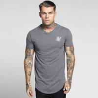 ingrosso uomini camicia manica lunga nera-Siksilk Hip Hop T-shirt Uomo Streetwear Top manica corta Nero Bianco T-shirt lunga T-shirt lunga