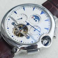 hombre reloj luna al por mayor-Relojes para hombre Relojes de lujo Sun Moon Switch Tourbillon Calendario Correa de cuero Relojes de pulsera Reloj mecánico automático para hombres