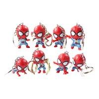 definir figuras de ação pvc venda por atacado-8 pçs / set Avengers Spiderman Chaveiro Super Herói Aranha De Ferro Chaveiro QVersão Pingente PVC Action Figure Coleção Modelo Toy