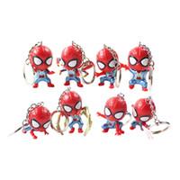 ingrosso portachiavi spiderman-8 pz / set Avengers Spiderman Keychain Super Hero Iron Spider Portachiavi QVersione Pendente PVC Action Figure Collection Model Toy