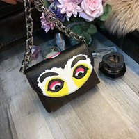 Wholesale fashionable totes - Most fashionable Women AAA+ Real Leather High Quality face mask style HandbagTotes bags fashion Shoulder Bags Cross Body Wallet clutch purse