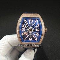 relogios de iates venda por atacado-Data de coleta dos homens V45 SC DT Yachting mostrador azul Mens Automatic Watch Rose Case Gold Diamante Bisel Blue Leather Strap Gents Novos Relógios