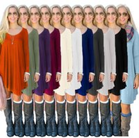 Wholesale tank top t shirt dresses - T Shirts Women Fashion Casual Tunic Tops Long Sleeve Leisure Blouse European Blusas Vestidos Solid Shirts Loose Tank YYA1120