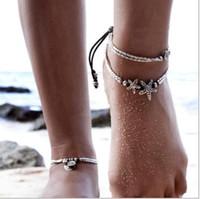 Wholesale Beach Tennis - Starfish Rune STRETCH CZ Tennis Ankle Chain ANKLET Bracelet SEXY Women Summer Sandy beach Jewelry Accessories