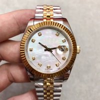 Wholesale pearl watch men for sale - 41mm New Style Date Just Automatic Movement Pearl Dial Men Watch Two Tone Stainless Band Sapphire Crystal