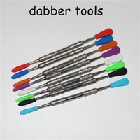 Wholesale silicone stainless steel dabber resale online - 100pcs Wax dabbers Dabbing tool with silicone tips mm dabber wax tool Stainless Steel Pipe Cleaning Tool DHL