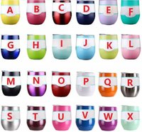 Wholesale Insulated Briefs - Wine Glasses Stemless Wine Cups Vacuum Insulated Mug Stainless Steel With Lid Egg Shape Cup 24 Color
