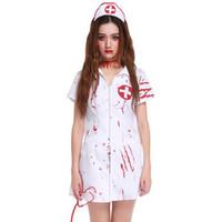 enfermeros adultos uniformes al por mayor-2018 Nuevo Vampiro Uniformes de Enfermeras Fantasma Adultos Mujeres Doctores Médicos Escapada del Juego de Halloween Escenario de Disfraces Cosplay Fiesta Vestido sexy